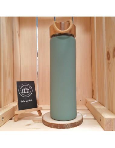 bouteille-en-verre-vert-sauge-manchon-en-silicone-reutilisable-zero-dechet-liv-wise
